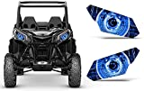 AMR Racing UTV Headlight Eye Graphics Decal Cover Compatible with Can-Am Maverick 1000 X3 Sport - Cyborg Blue