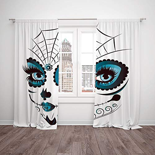 iPrint 2 Panel Set Satin Window Drapes Kitchen Curtains,Skull Graphic of Cute Dead Skull Teen Girl Face with Make Up and Ornate Design Print Peacock White,for Bedroom Living Room Dorm Kitchen Cafe ()
