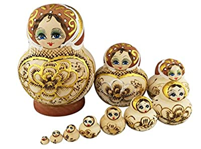 Beautiful Big Belly Shape Brown Little Girl Gold Heart and Flower Handmade Wooden Russian Nesting Dolls Matryoshka Dolls Set 10 pieces For Kids Toy Birthday Christmas Gift Home Decoration