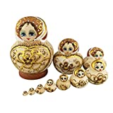 Beautiful Big Belly Shape Brown Little Girl Gold Heart and Flower Handmade Wooden Russian Nesting Dolls Matryoshka Dolls Set 10 Pieces for Kids Toy Birthday Home Decoration
