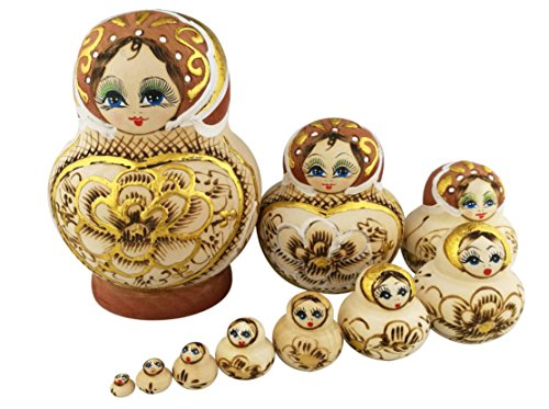 Winterworm Beautiful Big Belly Shape Brown Little Girl Gold Heart and Flower Handmade Wooden Russian Nesting Dolls Matryoshka Dolls Set 10 pieces For Kids Toy Birthday Christmas Gift Home Decoration by Winterworm