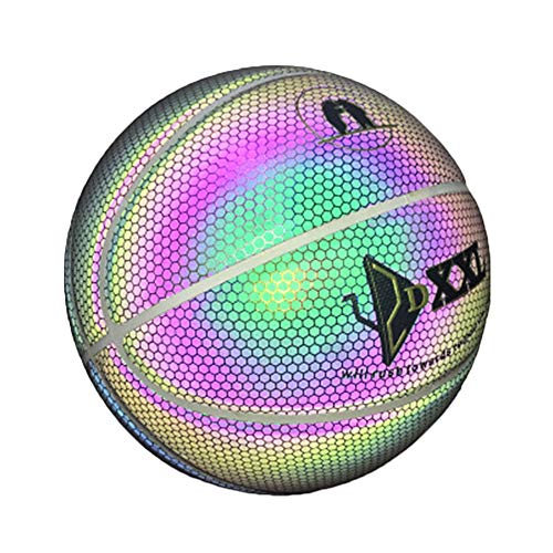 Trkee Luminous Basketball Night Game Street PU Glowing Rainbow Light Children Training Tool]()