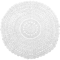 Pop Shop 784857749021 Macrame Round Rug, 3 , White