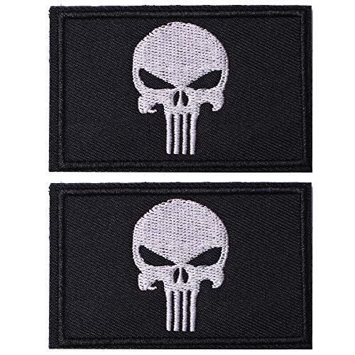 SHELCUP 2 Pieces Dead Skull Tactical Patch - Black