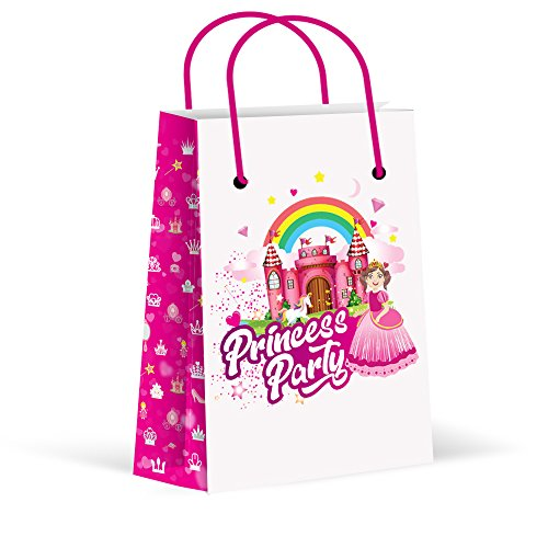 LARZN Premium Princess Party Bags, Girls Party Favor Bags, New, Treat Bags, Gift Bags ,Goody Bags, Princess Party Favors, Princess Party Supplies, Decorations, 12 Pack ()