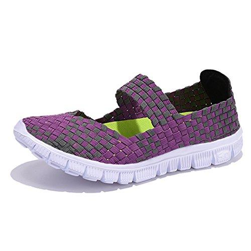 Sun Lorence Women Casual Lightweight Loafers Woven Flat Shoes Purple GHP1TNG