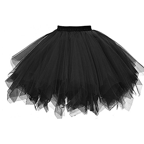 ZOMUSA Hot Sale Womens Pleated Gauze Costume Adult Party Tulle Short Skirt Fluffy Petticoat Tutu Dance Dress (One Size, Black) for $<!--$4.46-->