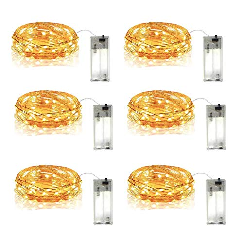 Batteries 2aa Requires (DEKOUH 6 Pack Led String Lights Waterproof 5.3ft 16 Led Fairy Lights 2AA Battery Holder Operated for Home, Garden, Party, Christmas Decoration. Warm White)