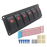 OLSUS 6-Group Single Lamp Aluminum Switch Panel for Car/RV/Yacht Refitting - Black, Red