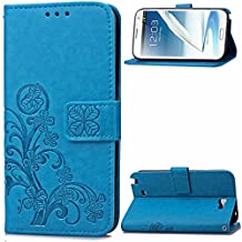 Note 2 Case, Galaxy Note 2 Case, SATURCASE Lucky Clover PU Leather Flip Magnet Wallet Stand Card Slots Case Cover for Samsung Galaxy Note II 2 N7100 Blue