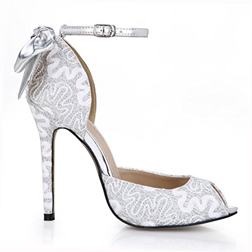 Best 4U? Women's Spring Summer Breathable Net Lace Bow Sandals Basic Pumps 12CM High Heels Rubber Sole One Buckle Zipper Shoes White Gold White GD94JJ