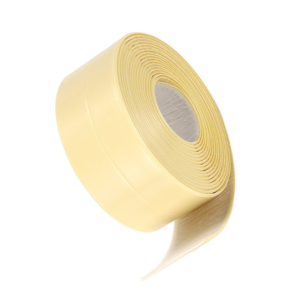 KaLaiXing Brand Tub and Wall Caulk Strip. Kitchen Caulk Tape Bathroom Wall Sealing Tape Waterproof Self-Adhesive Decorative Trim-Yellow