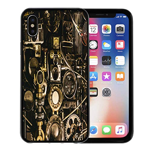 Emvency Phone Case for Apple iPhone Xs case,Machine Interesting Mechanism from Different Parts of Steampunk Engineering Engine for iPhone X Case,Rubber Border Protective Case,Black