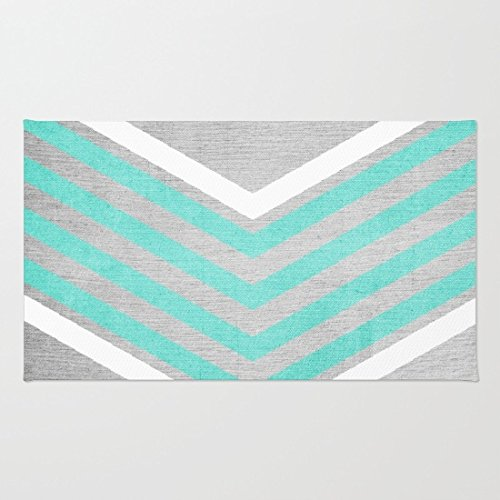 Poppylife Teal and White Chevron on Silver Grey Wood Rug Bathroom Kitchen Entry Coral Fleece Doormats Capet 16