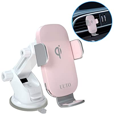 Pink Wireless Car Charger Mount Qi Fast Wireless Charging Auto-Clamping Windshield Dash Air Vent Phone Holder Compatible with iPhone11/11Pro/11ProMax/XSMax/XS/XR/X/8/8+, Samsung S10/S9/S8/Note10/Note9