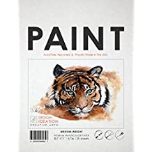 "Premium Watercolor Paper for Pencil, Ink, Marker and Watercolor Paints. Great for Art, Design and Education. Loose Sheet Pack. (25 Sheets(8.5"" x 11""))"