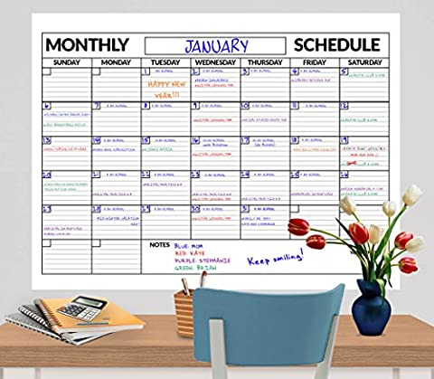 3 Pack Large Dry Erase Wall Calendar 3 Ft. X 4 Ft. Includes Expo® Marker and Scotch® Mounting Tape