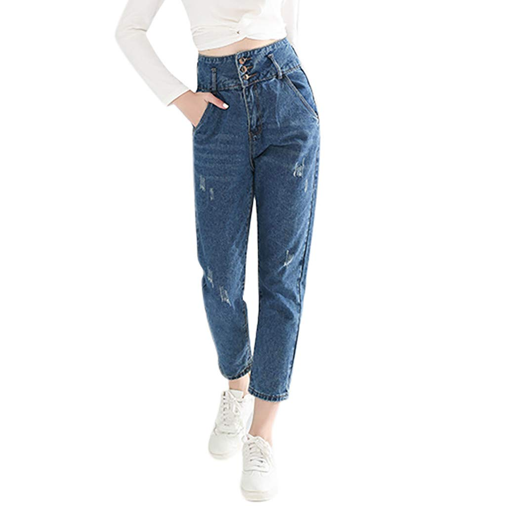 Armfre Bottom Women's High Waisted Jeans 3 Buttons Ripped Distressed Stretch Skinny Denim Pants Plus Size Butt Lift Straight Leg Cropped Trousers with Pockets by Armfre Bottom