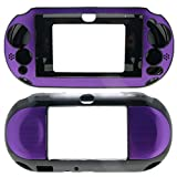 PlayStation PS VITA PSVITA Slim 2000 Case Cover Hybrid Brushed Aluminum Metal Overlay Hard Plastic + Free Screen Protector (2nd Generation, PCH-2xxx Version Only) (Purple)