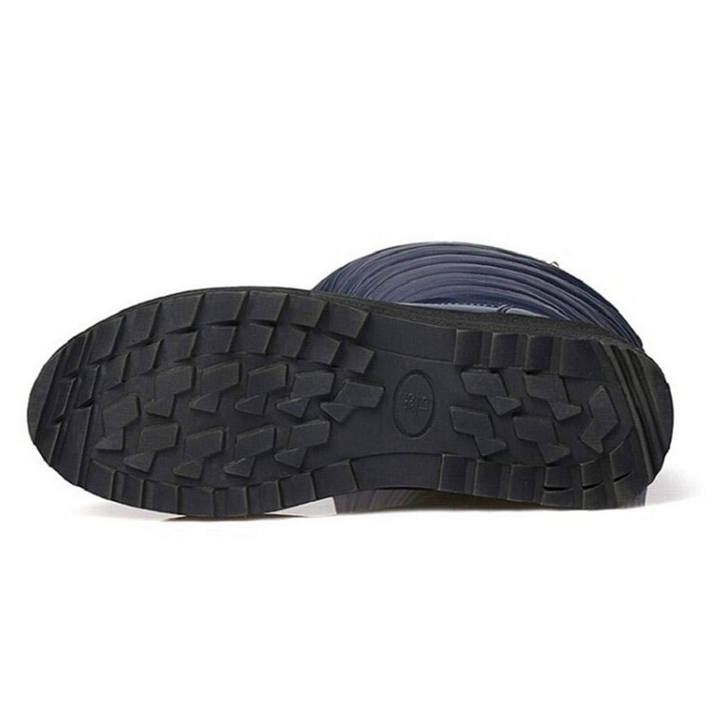 QUICKLYLY Botas De Nieve Mujer,Botines para Adulto,Zapatillas/Zapatos De Invierno Calzado Sin Cordones con Punta Redonda sobre La Rodilla De Liso La: ...