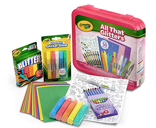 Crayola All That Glitters, Art Set, Over 50 Pieces, Gift for Kids, Age 5, 6, 7, 8 (Washable Set Art Crayola)