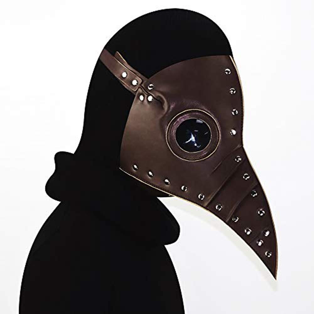 Xinxin Mittlere PU Leder Lange Mundmaske,Braun