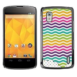 Caucho caso de Shell duro de la cubierta de accesorios de protección BY RAYDREAMMM - LG Google Nexus 4 E960 - Dot Waves Lines Rainbow Color