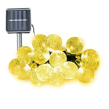 Ucharge S30-4 Solar Lights Crystal Ball String Lights 20ft 30Led Christmas Led Lights Waterproof (Warm White)