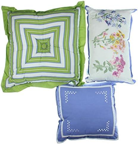 Martha Stewart Sunrise Vista 3PC Embroidered Decorative Pillow Set Ivory 18 x 18