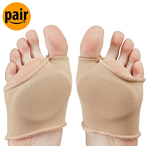NatraCure Metatarsal Gel Sleeve w/ Forefoot Cushion Pad (1 Pair) - Supports Ball of Foot Health - (Cat Foot Pads)