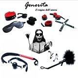 Generita 11 Pcs Under Bed Restraint Kit for Women Adults Couples Cross Buckle X Sexy Costume Leather Luxury Whip Handcuffs Collar 2 Use Red Black Tits Clips with Bell