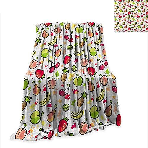 (Anyangeight Fruits Weave Pattern Extra Long Blanket Watercolor Pear Cherries Kiwi Apple Brushstroke Splashes Cute Kids Kitchen 90