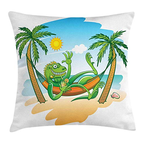 HFYZT Iguana Throw Pillow Cushion Cover, Green Iguana Smiling Waving Sunbathing Tropical Holiday Palm Trees with Hammock, Decorative Square Accent Pillow Case, 18 X 18 Inches, Multicolor
