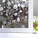 arch window covering - Bloss Glass Window Film No Glue Privacy Window Cling 3D Pebble Decal Glass Stickers for Doors, Cabinet, Bathroom 17.7'' by 78.7''