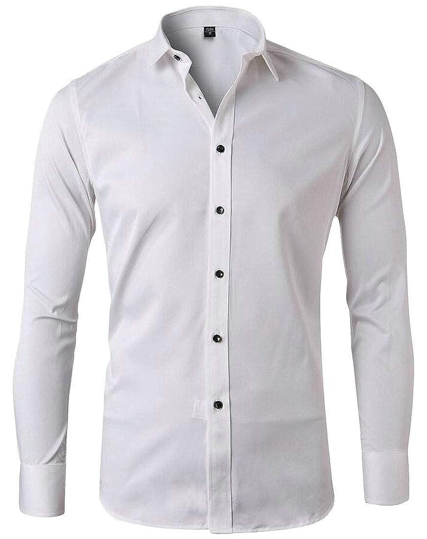 mydeshop Men Business Casual Button Down Shirts Long Sleeves Solid Dress Shirts