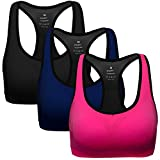 MIRITY Women Racerback Sports Bras - Medium Impact Workout Gym Activewear Bra Color Black Blue Rose Size M