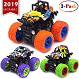 CozyBomB Friction Powered Monster Trucks Toys for Boys - Push and Go Car Vehicles Truck Jam Playset, Inertia Vehicle Cars, Kids Birthday Christmas Party Supplies Gift 3 Years Old 3-Pack Mini