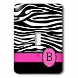 3dRose lsp_154273_1 Letter B Monogrammed Black and White Zebra Stripes Animal Print with Hot Pink Personalized Initial Light Switch Cover