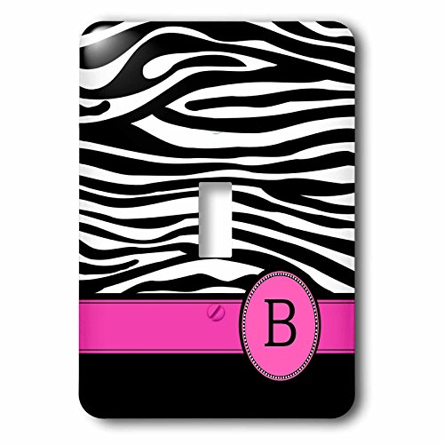 3dRose lsp_154273_1 Letter B Monogrammed Black and White Zebra Stripes Animal Print with Hot Pink Personalized Initial Light Switch Cover by 3dRose