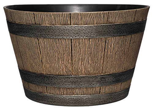 Planter Wooden Large - Classic Home and Garden HD1-1027 DisOak Whiskey Barrel, 20.5