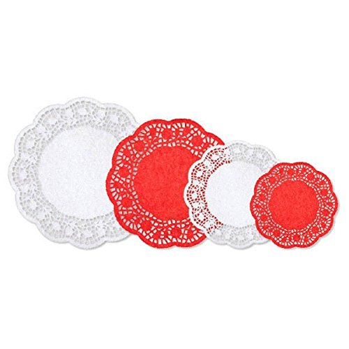 amscan Festive Christmas Red and White Paper Doilies, 40 Ct. | Party - Red Doily