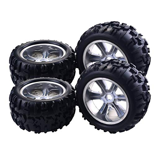 (RC Tires 4PCS RC Car Wheel Rim Tire for Redcat Hsp Kyosho Hobao Hongnor Team Losi GM HPI 1/8 Truggy Monster Truck Rubber Tyre 17mm Hex)