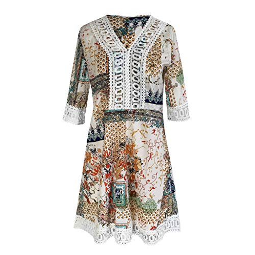 iLOOSKR Fashion Sexy Dress Women Summer V Neck Half Sleeve Printed Beach Mini Dresses Bohemian Party Dress Yellow -