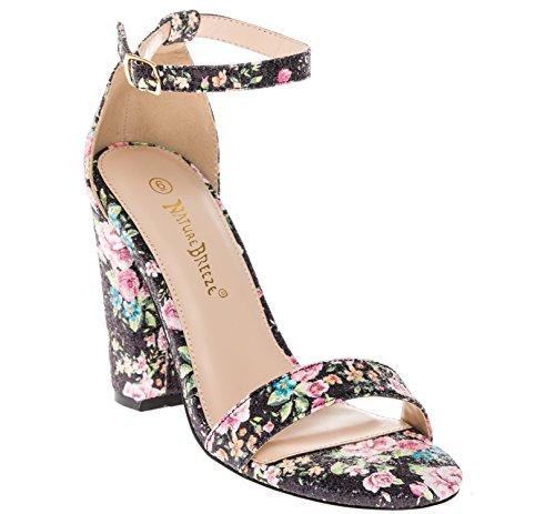 CALICO KIKI PHOEBE-CK01 Women's Casual Floral Glitter Ankle Strap Block Heel Open Toe Pumps (7.5 - Dress Black In Phoebe