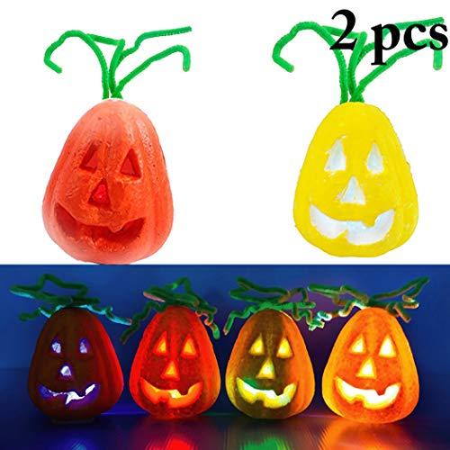 FunPa 2PCS Mini Pumpkin Light Pumpkin Lamp for Kids Halloween Lantern DIY Decorative