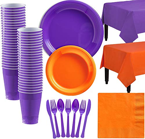 Party City Orange and Purple Plastic Tableware Kit for 50 Guests, 487 Pieces, Includes Plates, Napkins, and Table Covers -