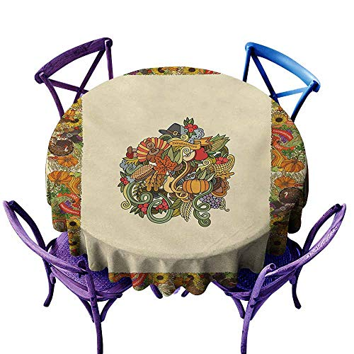 Tablecloth for Kids/Childrens,Thanksgiving Pumpkin Wreath Bow Cranberry Leaves Ivy Corn Basket Traditional Pattern Fall,Party Decorations Table Cover Cloth,50 INCH,Multicolor ()