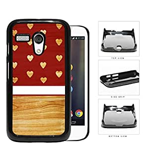 Burgundy Wooden Hearts Pattern with Block and White Stripe in Center Hard Snap on Cell Phone Case Cover Motorola Moto G