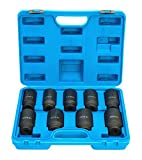 8MILELAKE Impact Sockets Set 1/2 inch Deluxe Axle Nut 9pcs Front and Back Wheel Driver Sockets