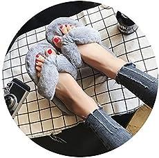 01b03ea23982 100% Wool Sheepskin Luxury Winter Plush Leather Furry Flip Flops ...